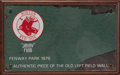 Baseball Collectibles:Others, Fenway Park Green Monster Piece from Jimmy Fund Charity. Red Sox Hall of Famers Ted Williams and Carl Yastrzemski proved the...