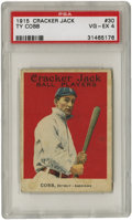 Baseball Cards:Singles (Pre-1930), 1915 Cracker Jack Ty Cobb #30 PSA VG-EX 4. Though there was nothingsweet about the Peach, he remains the second most valua...