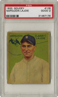 Baseball Cards:Singles (1930-1939), 1933 Goudey Napoleon Lajoie #106 PSA Good 2. Only the famous HonusWagner card of the T206 set could claim a more vast divi...