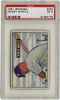 "Baseball Cards:Singles (1950-1959), 1951 Bowman Mickey Mantle #253 PSA EX 5. The kid from Commerce wasstill wearing his hated number ""6"" jersey when he posed ..."