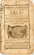 Books:Americana & American History, [Almanac] Robert B. Thomas. The Farmer's Almanack, for the Yearof Our Lord 1813. Boston: West & Richardson, [18...