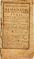 Books:Americana & American History, [Almanac] H. Stafford. An Astronomical Diary, Calendar, orAlmanack, for the Year of Our Lord 1795. New Haven: T. &...