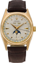 "Timepieces:Wristwatch, Rolex Extremely Rare Ref. 6062 Gold ""Star"" Dial Automatic TripleCalendar Wristwatch With Moon Phases, circa 1952. ..."