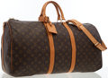 Luxury Accessories:Bags, Louis Vuitton Classic Monogram Canvas Keepall 55 BandouliereWeekender Bag. ...