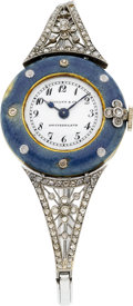Timepieces:Wristwatch, Patek Philippe Platinum, Enamel & Diamond Lady's Watch For Tiffany & Co., circa 1912. ...