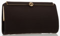 Luxury Accessories:Bags, Gucci Brown Canvas Signature Frame Clutch. ...