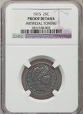Proof Barber Quarters: , 1915 25C -- Artificially Toned -- NGC Details. Proof. NGC Census: (2/163). PCGS Population (6/169). Mintage: 450. Numismedi...