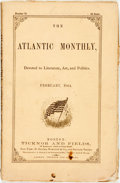 Books:Periodicals, [Harriet Beecher Stowe]. The Atlantic Monthly, No. 76, Feb., 1864. Boston: Ticknor and Fields, 1864. Contains a stor...