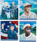 Baseball Collectibles:Others, 2013 Original Artwork by Eric Ayers for Historic AutographsOriginals 1933 Edition, including Mack, Hafey, Paige and FDR....