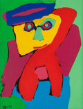 Post-War & Contemporary:Contemporary, KAREL APPEL (Dutch, 1921-2006). Cosy Face, 1969. Acrylic onpaper laid down on canvas. Sight: 25-3/4 x 19-5/8 inches (65...