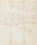 "Autographs:Military Figures, George Armstrong Custer: An Outstanding March 29, 1869 Signed Letter Recommending a ""good Indian"" Who Had ""participated in the..."