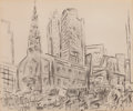 Fine Art - Work on Paper:Drawing, JOHN MARIN (American, 1870-1953). St. Paul's Cathedral, NewYork, 1939. Pencil on paper. 8-1/8 x 9-5/8 inches (20.6 x 24...