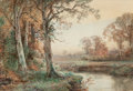 Fine Art - Painting, American:Antique  (Pre 1900), WILLIAM TROST RICHARDS (American, 1833-1905). Autumn Landscapewith Stream, 1881. Watercolor on paper. 10 x 14-1/2 inche...