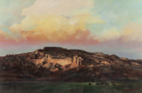 JOHN AUSTIN HANNA (American, b. 1942) Glowing Cliffs and Valley, Late Afternoon, 1980 Oil on canvas<