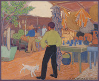 ELSIE PALMER PAYNE (American, 1884-1971) Market, Alvara Street, Los Angeles Watercolor and gouache o