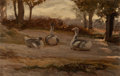 Fine Art - Painting, American:Antique  (Pre 1900), ELIHU VEDDER (American, 1836-1923). Geese and Archwaywith Woman (two works), circa 1865. Each, oil on board.Gees... (Total: 2 Items)