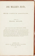 Books:Literature Pre-1900, Frank Bellew, editor. Joe Miller's Jests, with CopiousAdditions. New York: Northern Magazine, 1865. First editiont...