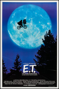 """E.T. The Extra-Terrestrial (Universal, 1982). One Sheet (26.75"""" X 40.25"""") Bicycle Style. Science Fiction"""