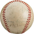 Autographs:Baseballs, 1937 Pittsburgh Pirates Team Signed Baseball with Honus Wagner....