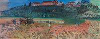 RAOUL DUFY (French, 1877-1953) Langres, 1935 Oil on canvas 10-5/8 x 27-1/2 inches (26.9 x 69.9 cm