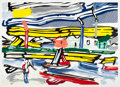 Prints, ROY LICHTENSTEIN (American, 1923-1997). The River (from the Landscapes series), 1985. Lithograph, woodcut and screen...