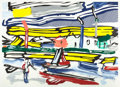 Prints, ROY LICHTENSTEIN (American, 1923-1997). The River, 1985. Lithograph, woodcut and screenprint in colors. 37-1/4 x 52-5/8 ...