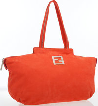 Fendi Salmon Suede Chain Tote Bag