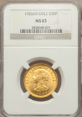 Chile, Chile: Republic gold 50 Pesos 1926-So MS63 NGC,...