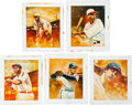 Baseball Collectibles:Others, 2013 Original Artwork by Chris Duggan for Historic AutographsOriginals 1933 Edition, including Leonard, (2) Johnson, Travis a...