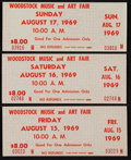 Miscellaneous Collectibles:General, 1969 Woodstock Unused Tickets Lot of 3....