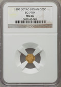 California Fractional Gold: , 1880 25C Indian Octagonal 25 Cents, BG-799X, R.3, MS66 NGC. NGCCensus: (2/0). PCGS Population (1/0). ...