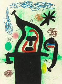 JOAN MIRÓ (Spanish, 1893-1983) La Harpie, 1969 Etching, aquatint and carborundum in color 37-1/4