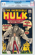 Silver Age (1956-1969):Superhero, The Incredible Hulk #1 (Marvel, 1962) CGC VF- 7.5 White pages....