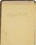 Autographs:Others, 1930's Baseball Autograph Book with Ruth, Ott, Wagner....