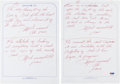 Boxing Collectibles:Memorabilia, 1971 Muhammad Ali Handwritten & Signed Quotations Lot of 4....