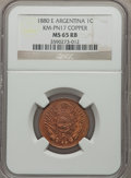 Argentina, Argentina: Republic Pattern Centavo in copper 1880-E MS65 Red andBrown NGC,...