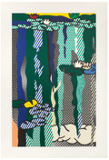 Prints:Contemporary, ROY LICHTENSTEIN (American, 1923-1997). Water Lilies withCloud, 1992. Screenprinted enamel on processed and swirledsta...