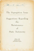Books:Americana & American History, William Old. The Segregation Issue. Suggestions Regarding theMaintenance of State Autonomy. [N.p., n.d.]. Self-wrap...