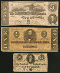 Confederate Notes:1862 Issues, T53 $5 1862;. T71 $1 1864;. T72 50 Cents 1864.. ... (Total: 3notes)