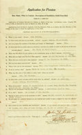 """Books:World History, Black Confederate Body Servant's Pension Request. April 7, 1923.Mississippi. Signed with an """"X."""" Three horizontal folding c..."""