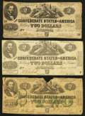 Confederate Notes:1862 Issues, T42 $2 1862 PF-1 Cr. 334;. T42 $2 1862 PF-5 Cr. 337;. T43 $2 1862PF-1 Cr. 338.. ... (Total: 3 notes)