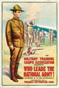 "Movie Posters:War, World War I Propaganda (Triangle, 1917). ""Who Leads the NationalArmy!"" Theatrical Poster (27.25"" X 41"").. ..."
