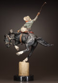 Sculpture, HARRY ANDREW JACKSON (American, 1924-2011). Two Champs (Clayton Danks on Old Steamboat), 1974. Polychrome bronze. 29 inc...