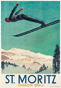 "Engadin -- St. Moritz, Switzerland Travel Poster (1924). Poster (35.5"" X 50.25"")"