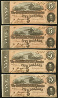 Confederate Notes:1864 Issues, T69 $5 1864 PF-9 CR. 563, Four Consecutive Examples.. ... (Total: 4 notes)