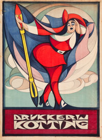 "Dutch Advertising Poster (c.1917). Poster (31.5"" X 43"") ""Drukkerij Kotting."""