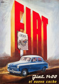 "Movie Posters:Miscellaneous, Italian Advertising Poster (1950). Full-Bleed Poster (35.5"" X 50"")""Fiat 1400: El Nuevo Coche."". ..."