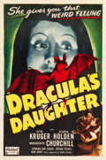 "Movie Posters:Horror, Dracula's Daughter (Realart, R-1949). One Sheet (27"" X 41"").Horror.. ..."