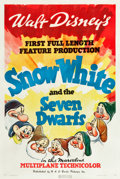 "Movie Posters:Animation, Snow White and the Seven Dwarfs (RKO, 1937). One Sheet (27.25"" X 41"") Style A.. ..."