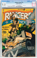 Golden Age (1938-1955):War, Rangers Comics #15 (Fiction House, 1944) CGC VF/NM 9.0 Off-white to white pages....